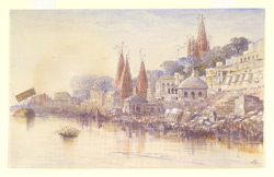 View from the River Ganges of the burning ghats, Benares (U.P.). Probably 14 December 1873